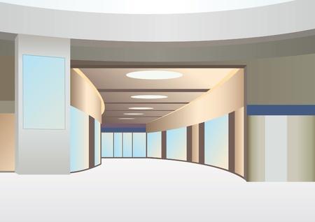 zaal in de handel centrum met gang en ramen, vector