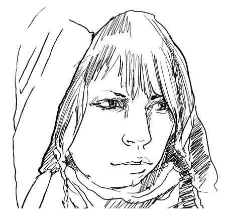 woman sketch: woman in hood pencil drawing, vector