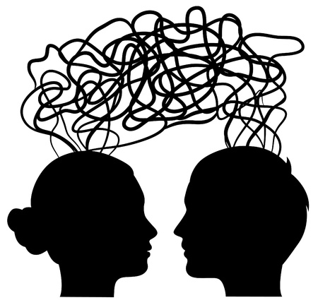 see side: man and woman thinking on same way, idea concept, vector