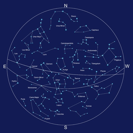 constelaciones: Mapa y constelaciones con títulos de Sky, vectores