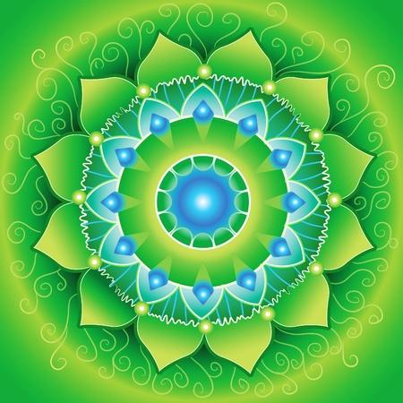 anahata: cerchio di sfondo, luminoso verde mandlala del chakra anahata, vettoriale