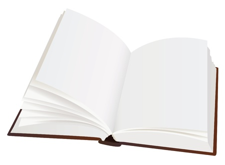bookstore: realistic opened book with blank pages, vector Illustration