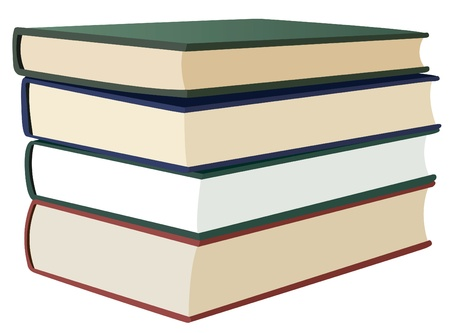 bibliophile: stack of four books, vector