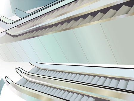 mall interior: many escalators indoor, view from above, vector