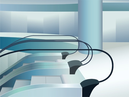 blue escalators indoor in mall, vector Vector