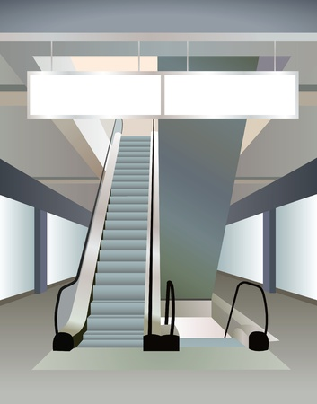 hallway: two escalators in mall and plates, vector