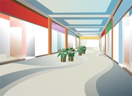 corridor in mall with windows, vector Vector