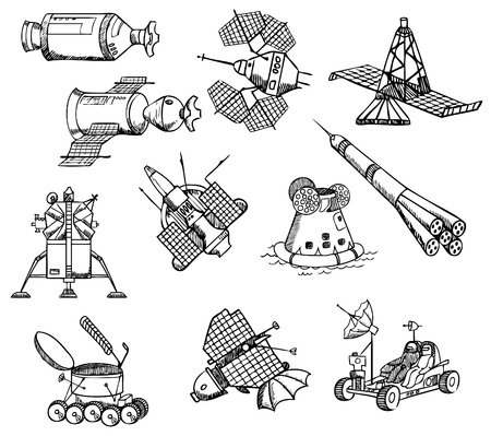 astronautics: many different spacecrafts, vector Illustration