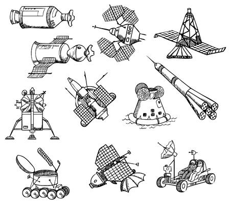 veel verschillende ruimtetuigen, vector