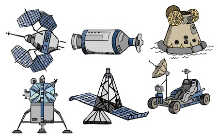 moon rover: many different color spacecrafts, vector