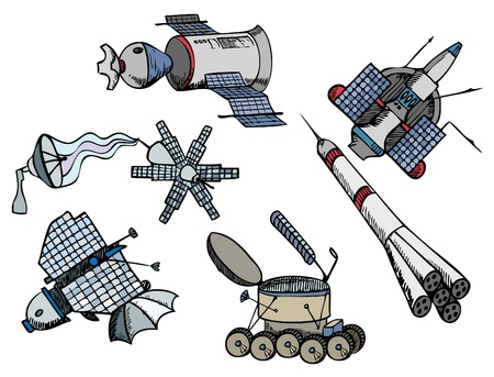 astronautics: many different color spacecrafts, vector