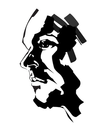 see side: brush painted portrait of serious man, vector Illustration