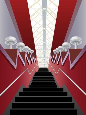 ceiling design: pasillo interior rojo con negros escaleras y l�mparas, vector