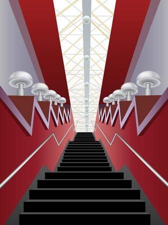 stairs interior: red interior corridor with black stairs and lamps, vector