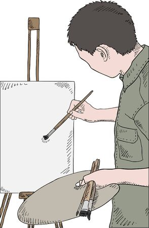artist's canvas: man holding brushes and palette, painting picture, vector