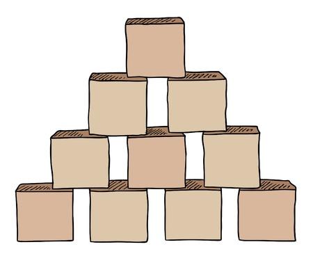 conundrum: piramide dal marrone vettore cubi Vettoriali
