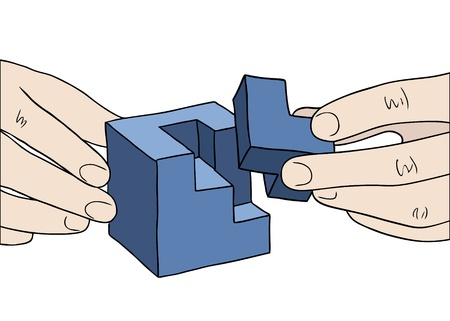 complete solution: human hands assembling blue cube vector Illustration