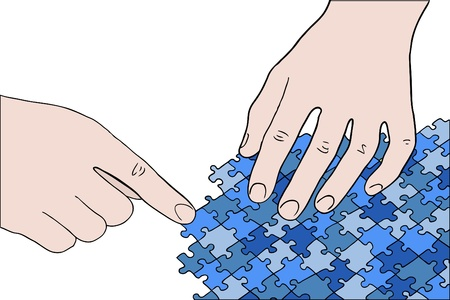 human hands assembling blue puzzle vector Illustration