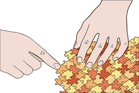 human hands assembling orange puzzle vector Vector