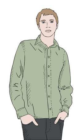 young: young man in green shirt, hands in pockets, vector