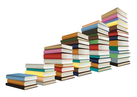 large group of objects: stacks of books, staircase shape, vector