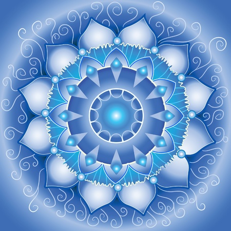 svadhisthana: abstract blue pattern, mandala of vishuddha chakra vector Illustration