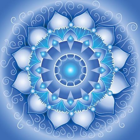 chakra: mod�le bleu abstraite, mandala de vecteur de calendrier chakra