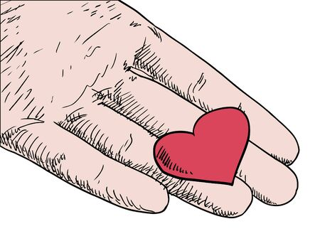 pleat: human hand holding red heart vector Illustration
