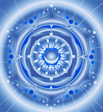 vishuddha: abstract blue pattern, mandala of vishuddha chakra vector Illustration