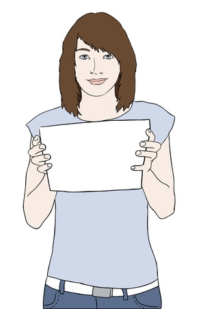 woman behind: young girl holding blank paper sheet and smiling vector Illustration