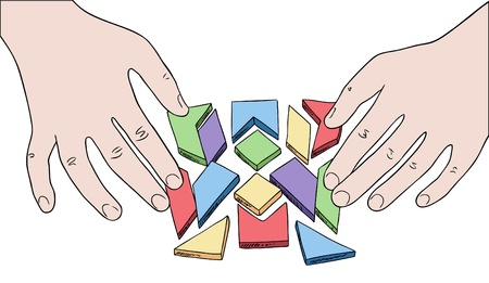 conundrum: human hands assembling puzzle from multicolored pieces vector