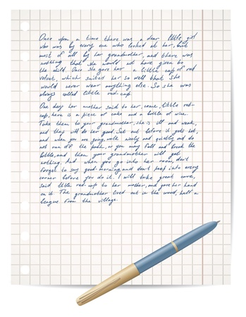 written: script on copybook paper and pen vector Illustration