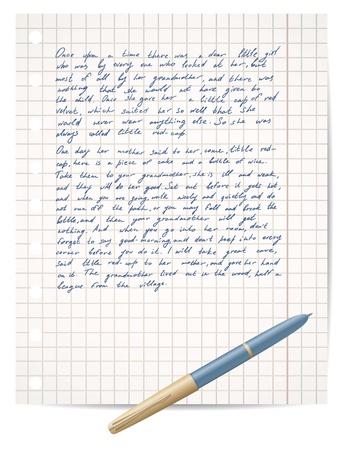script op schrift papier en pen vector