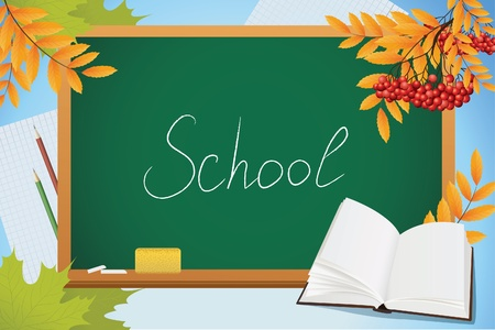 subject: school autumn background with blackboard, book and yellow leves, vector