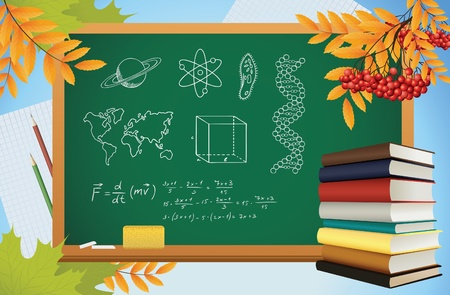 school autumn background with symbols on blackboard, books and yellow leves, vector Vector