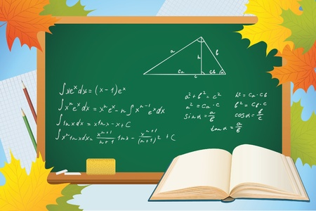 trigonometry: math and geometry school autumn background with blackboard, books and leves, vector