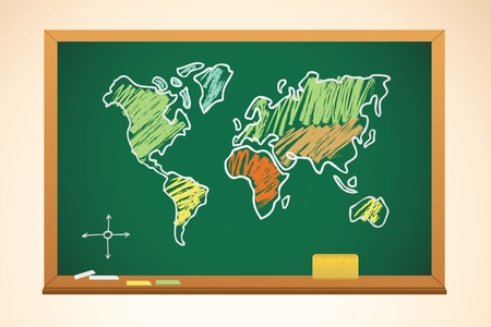 school background with geography map drawing on blackboard, vector Vector