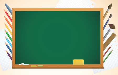 school background with blackboard, pens and pencils, vector Vector