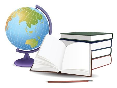 terrestre: mondo della scuola, libri e matita, vettore