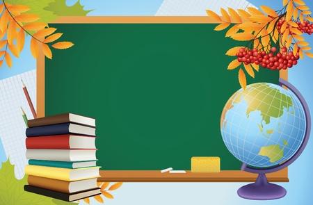 geografia: antecedentes de otoño de escolares con pizarra, globo, libros y amarillo campales, vector