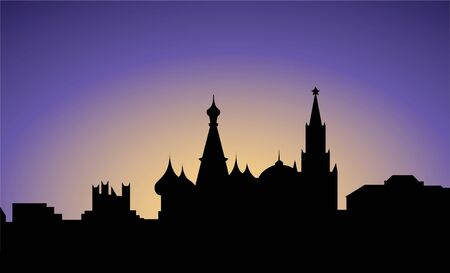 panoramic view: silhouette of Mos�ow city, Russia, vector