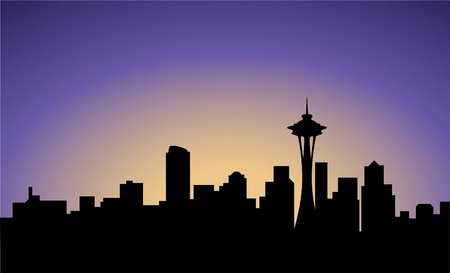seattle: silhouette of Seattle city, USA, vector Illustration