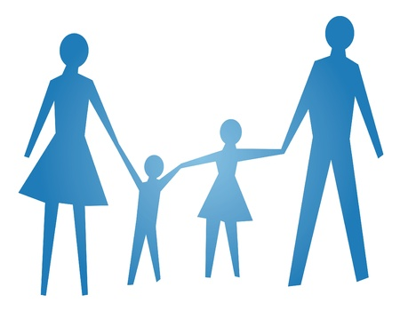 family with two children: abstract symbol of happy family vector