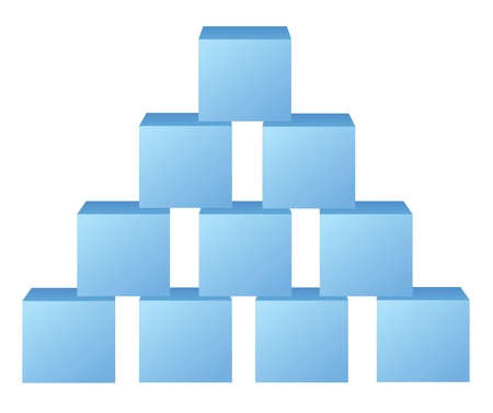 conundrum: blue pyramid from cubes