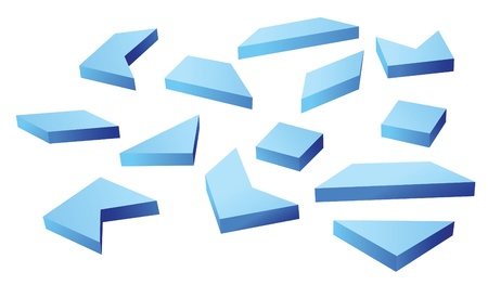 conundrum: many blue geometrical figures vector