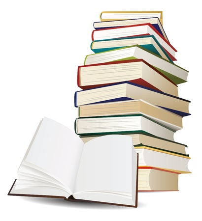 stack of books and opened book with blank pages vector Vector