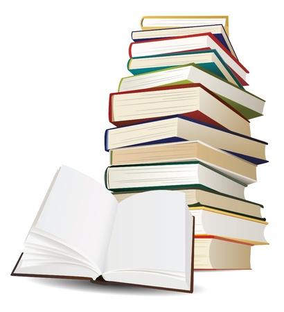 Stapel boeken en opende boek met blanco pagina's vector