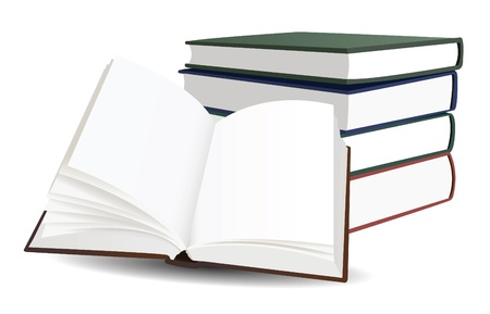 bibliophile: stack of books and opened book with blank pages vector