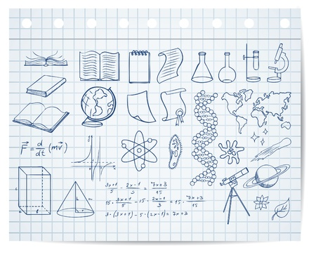 copybook: science and education symbols on copybook page vector set