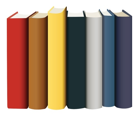 books in multicolored covers, view from back, vector